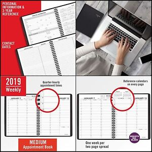 At a glance 2019 Weekly Appointment Book Planner 3 Sizes X 3 Colours Black N