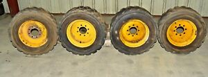 4 Skid Steer Wheels 8 Lug 17 Rims W goodyear It323 10 16 5nhs Tires Foam Fil