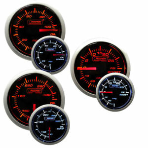 Prosport 52mm Oil Temperature Pressure Boost Gauge Combo Kit Amber White