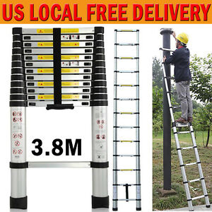 12 5ft Multi Purpose Aluminum Ladder Fold Step Telescopic Extend Garden Tools