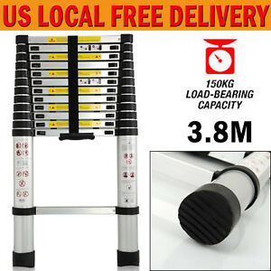 12 5ft Telescopic Aluminum Extension Step Ladder Max 330lbs Inspection Roofing