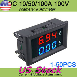 Digital Red Led Voltage Meter Dc100v 10a Voltmeter Ammeter Blue red Led Amp Dual