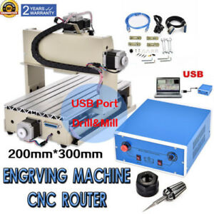 Usb 3 Axis 3020 Cnc Router Engraver Engraving Machine 300w Drill Carving Cutter