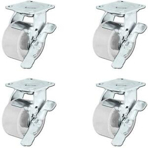 Casterhq 5 X 2 Steel Wheel Casters Set Of 4 Swivel Casters With Brakes