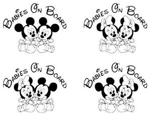 Baby On Board Mickey Minnie Mouse Babies Vinyl Decal Sticker Multiple Colors