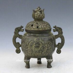 Chinese Bronze Handwork Carved Buddha Incense Burner Lid