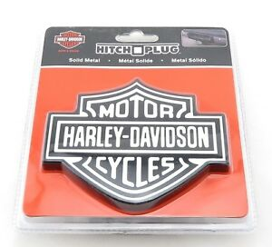 Harley Davidson Cycles Black White Trailer Hitch Plug Cover Universal Receiver