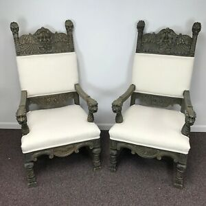 Pair Of 19th C Gothic Revival Throne Chairs W North Wind Carvings