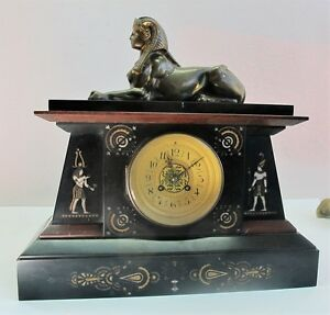 Fine French Egyptian Revival Carved Marble Gilt Bronze Clock C 1870 Antique