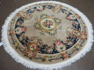 5 Vintage Round Hand Made Chinese Peking Art Deco Wool Rug Flowers 90 Line Nice