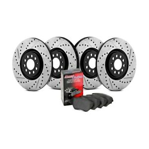 For Subaru Wrx 13 14 Street Drilled Slotted 1 Piece Front Rear Brake Kit