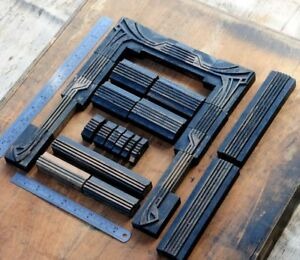 Letterpress Border Wooden Printing Blocks Ornaments Art Nouveau Vintage Printer