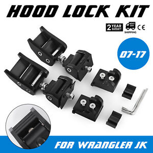 2pcs Hood Lock Latches For 2007 17 Jeep Wrangler Jk Kit Unlimited Hold Down