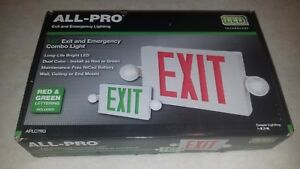 All pro Red green Led Hardwired Lighted Exit And Emergency Light Combo Exit Sign
