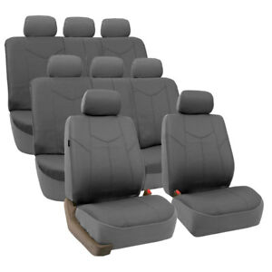 Rome Leather 3 Row 8 Seat Seat Covers Full Set For Suv Van Gray