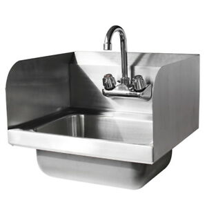 New 17 kitchen Stainless Steel Wall Mount Hand Sink W Faucet And Drain Strainer
