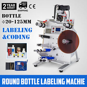 150w Round Bottle Labeling Machine Labeler Alloy Printer Digital Electric Good