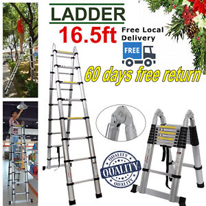 16 5ft Aluminum Multi Purpose Telescopic Ladder Extension Foldable Steps 331lbs