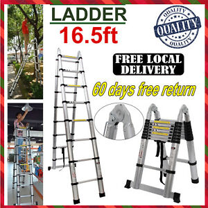 12 5 16 5ft Telescoping Ladder Thick Aluminum Telescopic Extension Ladder 333lbs