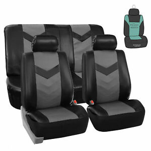 Leather Gray Black Seat Covers For Auto Car Sedan Suv Van W Air Freshener