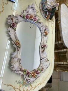Vintage Antique Capodimonte Porcelain Mirror Set Angels Cherubs