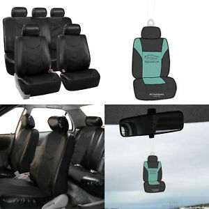 Full Leather Seat Covers Set Solid Black For Auto Car Suv Van Universal W Gift
