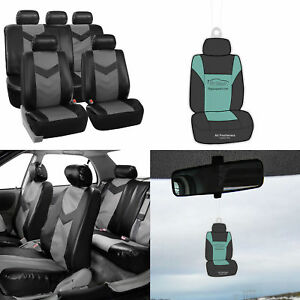 Full Leather Seat Covers Set Gray Black For Auto Car Suv Van Universal W Gift