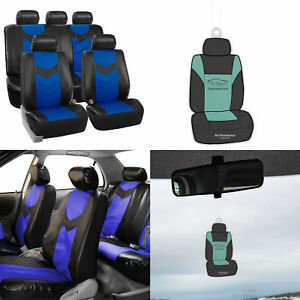 Universal Leather Auto Seat Covers For Car Suv Van Blue Black With Free Gift