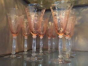 Rose Viennese Art Nouveau Glasses Set Of 12