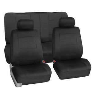 Neoprene Auto Seat Covers For Sedan Suv Waterproof Complete Set Solid Black