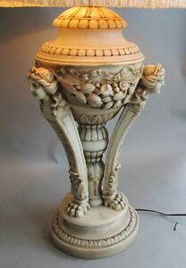 Large Fine Antique Italian Carved Marble Lamp W Cherubs C 1915 Alabaster