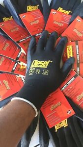 Small s 24 Pair Diesel Black Safety Gloves Latex Coated Grip Cut Resistant