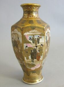 Antique Japanese Hexagon Shaped 7 Satsuma Vase W Elders C 1890 Meiji Era