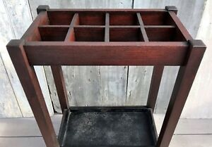Antique Arts Crafts Mission Oak Wood Umbrella Cane Stand W Iron Pan C 1910