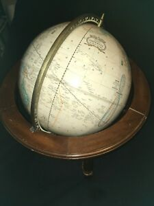 Vintage Cram S Imperial World Globe W Metal Stand Usa 12 Diameter With Stand