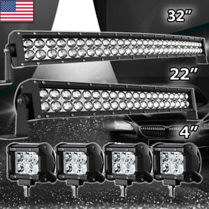 Led Light Bar 52inch Combo 20in 4 Pods For Ford Jeep 4x4 Truck Offroad 50