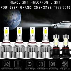New 6x White 6000k Cob Led Headlight Fog Lights For Jeep Grand Cherokee 99 2010