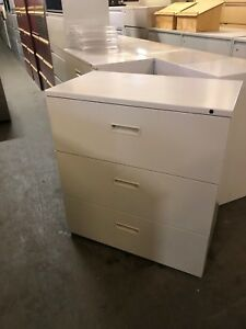 3 Drawer Lateral Size File Cabinet By Herman Miller W lock key 36 w
