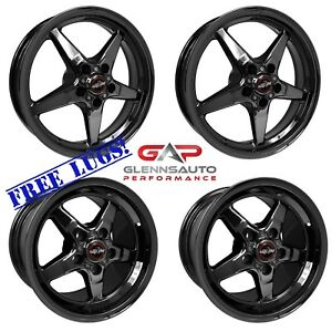 Race Star Drag Pack 18x5 17x9 5 09 15 Cts v Coupe Black Chrome 4 Wheel Combo
