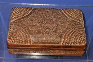 Antique Hand Carved Indian Pakistan Wood Dresser Or Valuables Box Hand Carved