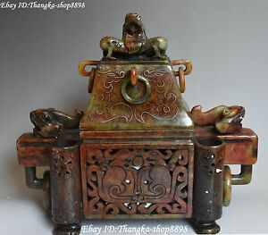 12 China Old Jade Handwork Carving Dragon Dragons Animal Incense Burner Censer
