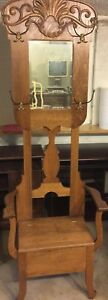 Antique Oak Hall Tree With Seated Bench