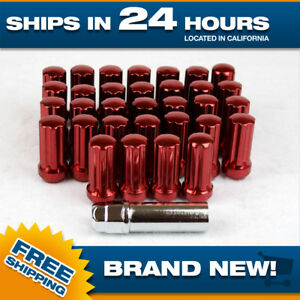 32 Red Extended Spline Lugnuts For Chevy Gmc 2500 3500 With Key 2 Long Tall Xl