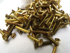 251 Pieces Flat Head Slotted Machine Screws Solid Brass 6 32 X 3 4
