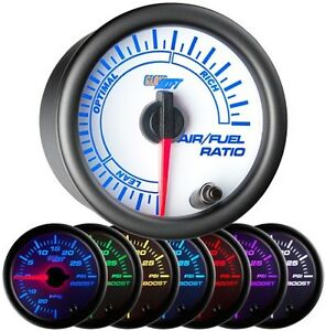 52mm Glowshift White 7 Color Needle Air Fuel Ratio Gauge Glow Shift Gs W702