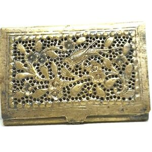 Old Business Card Holder Vintage Silver Box Handmade Peacock Island Pattern