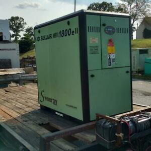 Used 25 Hp Sullair 1800 Skid W Computer quiet Housing Rotary Comp 230 460v 3ph