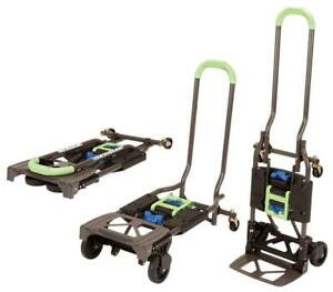 Heavy Duty Folding Hand Truck And Dolly Green Handle Work Dolly Free Shipping