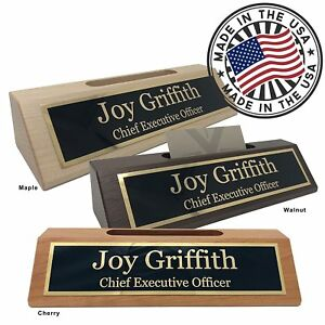 Personalized Business Desk Name Plate With Card Holder Made In Usa Walnut Wood