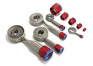 Hose Sleeve Vacuum Fuel Radiator Heater Braided Red Blue Clamps 7490